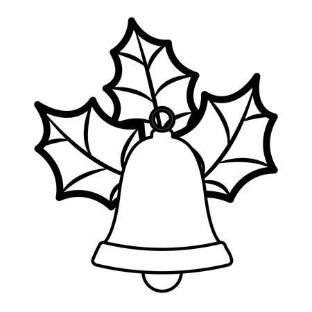 Golden Bell silhouette con foglie di Natale illustrazione vettoriale