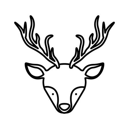 front face silhouette reindeer with horns vector illustration