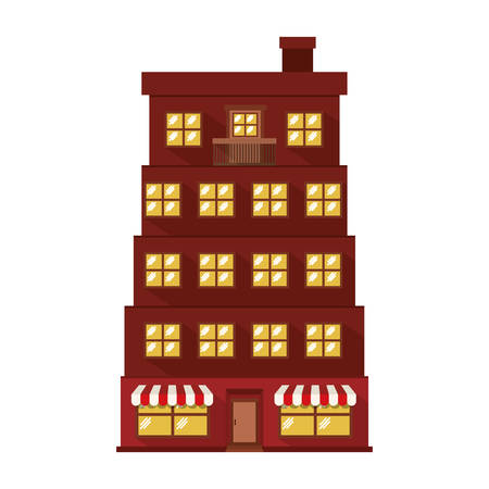 penthouse: facade apartment with several floors vector illustration Illustration