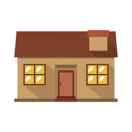 confortable: facade confortable house with chimney vector illustration
