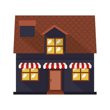 sunshade: facade confortable house with sunshade vector illustration Illustration