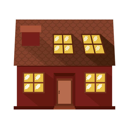 penthouse: facade confortable house with attic vector illustration