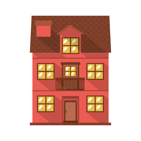 residence: facade confortable residence with balcony vector illustration Illustration