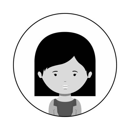 sphere standing: silhouette sphere of half body woman with short hair vector illustration Illustration