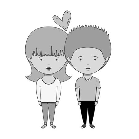 monochrome couple with casual clothes inlove vector illustration Illustration