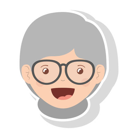 teeths: front face elderly woman smiling with glasses vector illustration Illustration