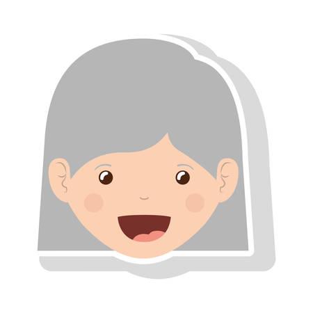 cabello corto: Cara de la mujer de edad avanzada frente con la ilustración del vector de pelo corto y recto