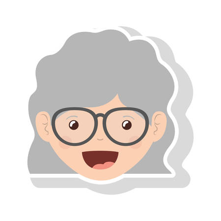 teeths: front face elderly woman wavy hair with glasses vector illustration