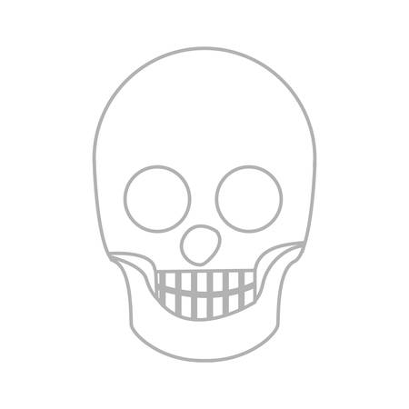 morphology: silhouette skull bones with teeths vector illustration