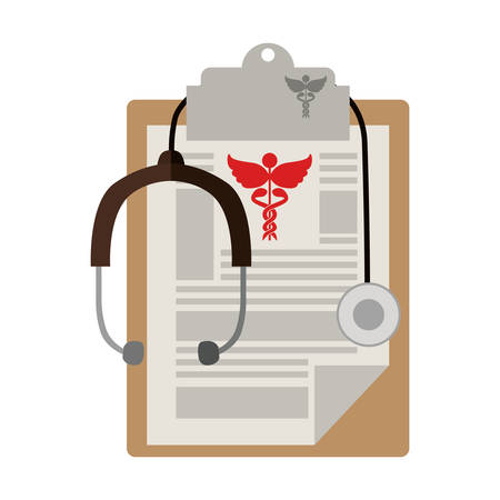 table notepad with sheets stethoscope medical vector illustration