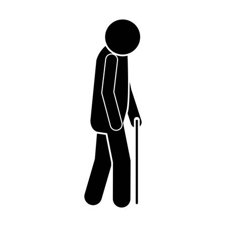 gerontology: icon silhouette elderly man with walking stick vector illustration
