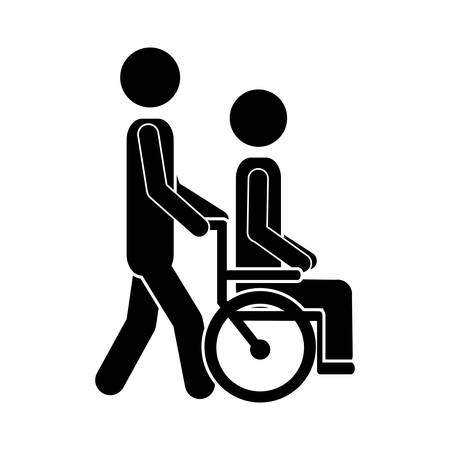 man transporting disabled person sitting in the wheelchair icon vector illustration Ilustração Vetorial
