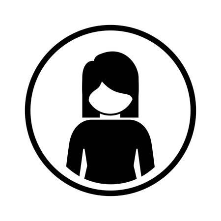 sphere standing: silhouette sphere of half body icon woman vector illustration Illustration