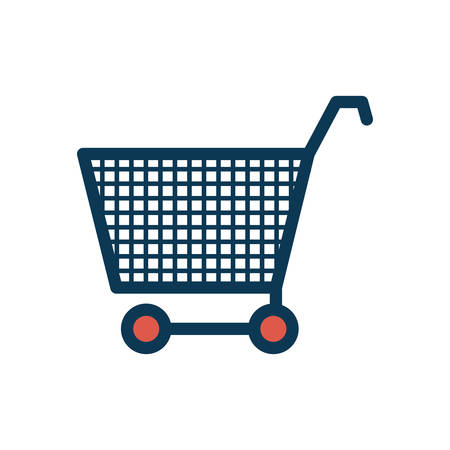 silhouette color with shopping cart vector illustration