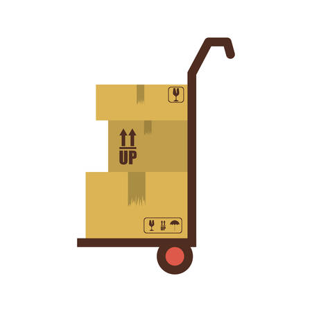 silhouette with transport trolley with boxes vector illustration