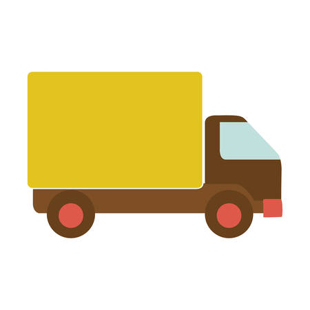 transport truck with yellow wagon and wheels vector illustration Illustration