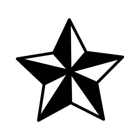 silhouette monochrome Star of five points vector illustration