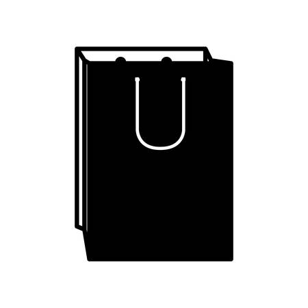 opened bag: monochrome silhouette with bag of gift opened vector illustration