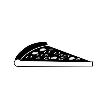 ピザの部分ベクトル イラスト シルエット モノクロ
