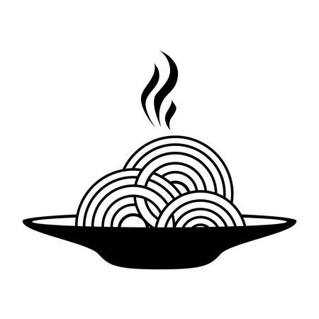 silhouette monochrome dish with hot spaghetti vector illustration