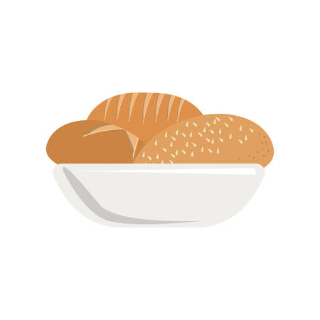 colorful silhouette dish with bread vector illustration