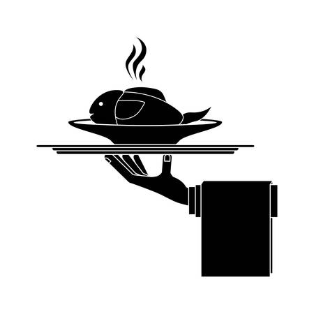 silhouette monochrome dish with hot fish in tray vector illustration