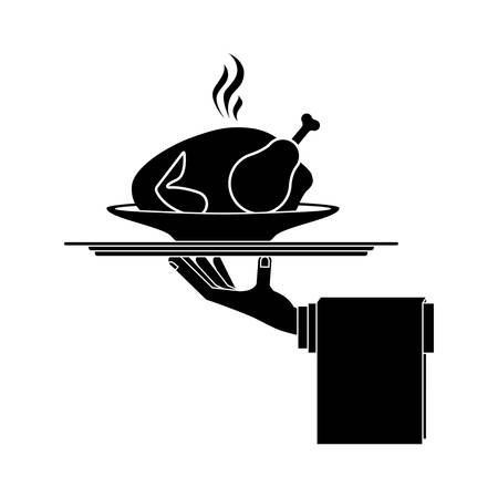 chicken dish: silhouette monochrome dish with hot chicken roast in tray vector illustration