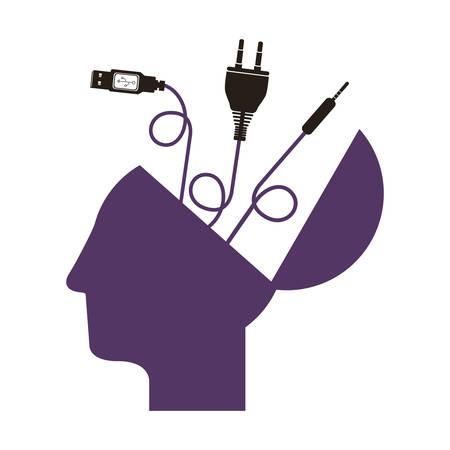 purple profile head human with different connectors vector illustration Illustration