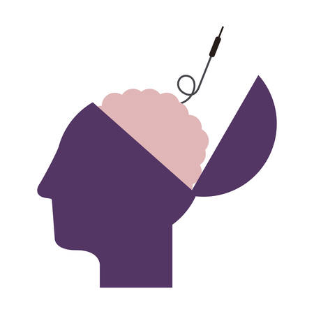 purple silhouette open head and human brain with jack connector