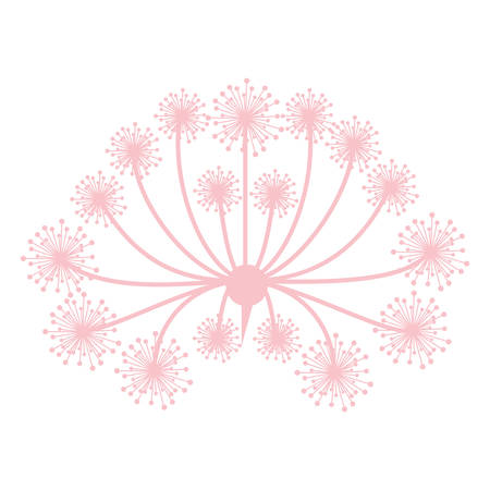 ramification: pastel pink silhouette dandelion with pistils vector illustration