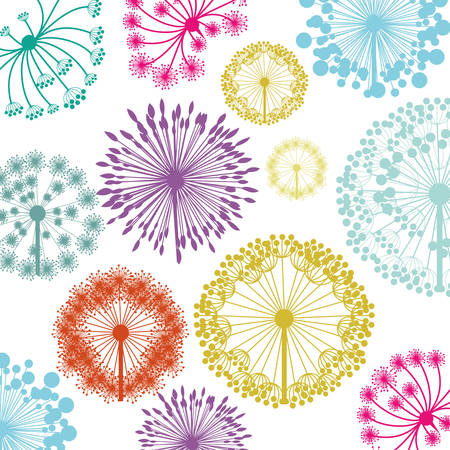pattern with silhouette colorful dandelion vector illustration