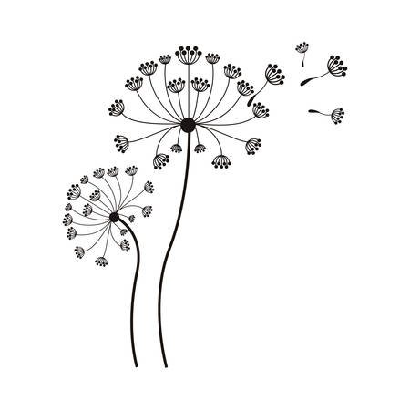 silhouette flying blow dandelion buds vector illustration Çizim