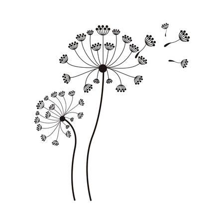 silhouette flying blow dandelion buds vector illustration Illustration