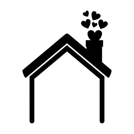 prefab: black silhouette house with chimney and hearts vector illustration Illustration