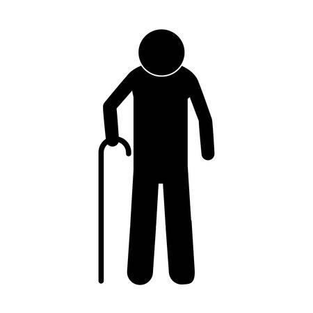 pictograma hombre mayor con palo ilustración vectorial