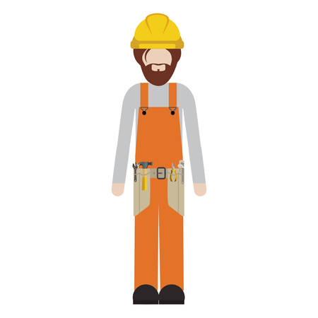 silhouette man worker with toolkit and beard vector illustration