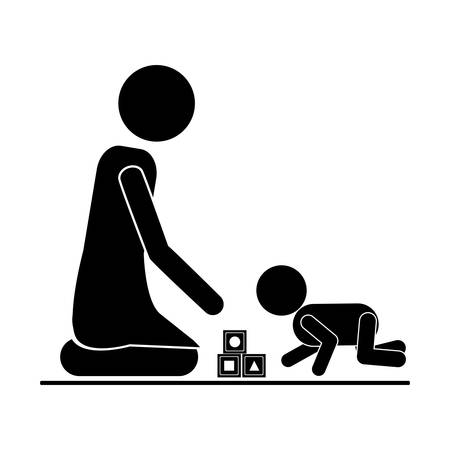 baby playing toy: pictogram mom playing baby with cubes vector illustration Illustration