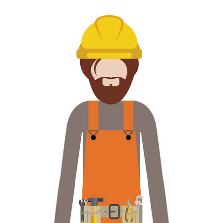 tool belt: half body man worker with toolkit and beard vector illustration