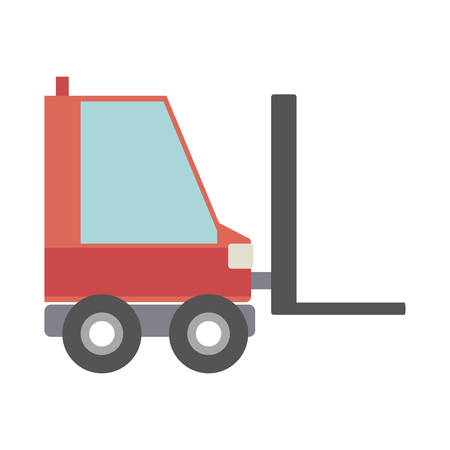 silhouette forklift truck with forks vector illustration