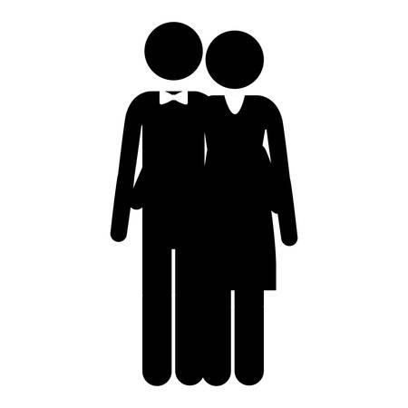 embraced: pictogram husband and wife embraced vector illustration