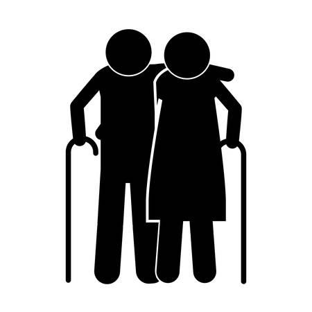 gerontology: pictogram elderly couple with walking stick vector illustration