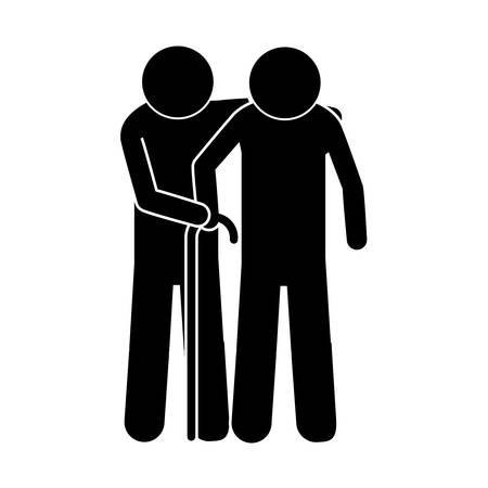 gerontology: pictogram pair elderly with walking stick vector illustration