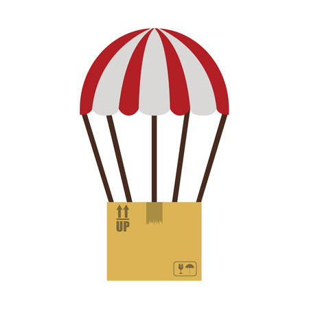 colorful parachute with cardboard box vector illustration Illustration