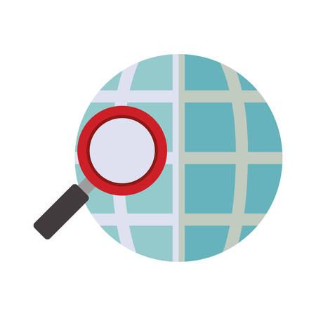 blue sphere map with magnifying glass vector illustration