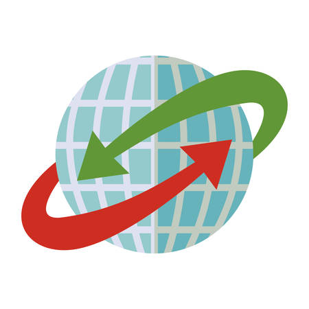 ベクトル図の周りの赤と緑の矢印と青い球体世界