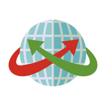 blue sphere world with crossed arrow around vector illustration Illustration