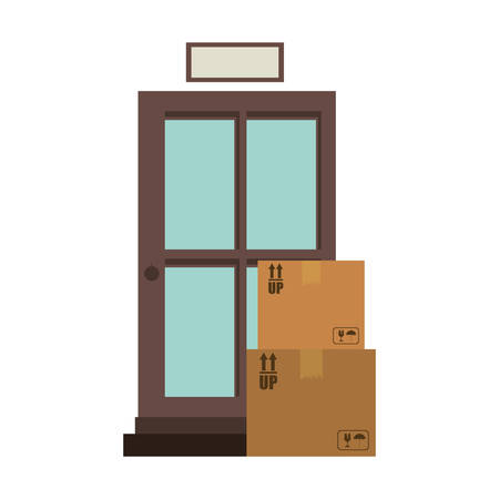 stockpile: office logistic with carton boxes set vector illustration