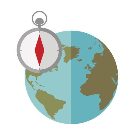 mundo azul esfera con icono de brújula ilustración vectorial