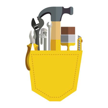 toolkit inside of pocket pant vector illustration