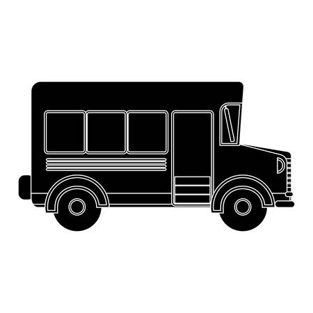buss: black silhouette school bus with wheels vector illustration